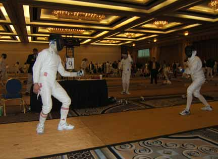 fencing at duel in desert